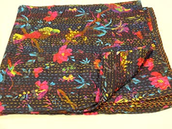 Bird Print King Size Kantha Quilt Black Kantha Blanket, Bed Cover, King Kantha Bedspread, Bohemian Bedding Kantha Size 90 Inch X 108 Inch