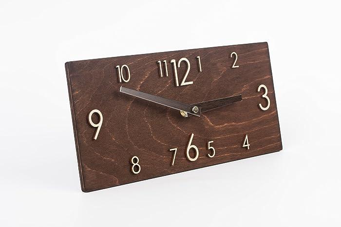 nice looking modern wall clocks amazon. Wooden Wall Clock  Handmade Dark Brown Rectangular Modern Amazon com