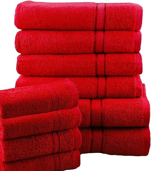 Casabella - Juego de toallas de baño (10 unidades), algodón, Rojo ...