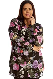 10b34e1a11a Nouvelle Collection New Womens Plus Size Shirt Ladies Floral Print Top  Chiffon Collared Buttons Side Slit