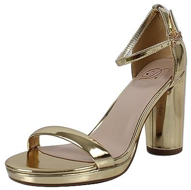dc471391b94 Delicious Women s Open Toe Metallic Ankle Strap Chunky Heel (Gold
