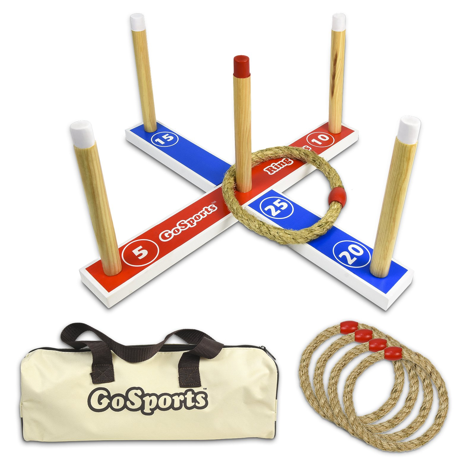 GoSports Premium Wooden Ring Toss Game with Carrying Case, Great for all Ages by GoSports