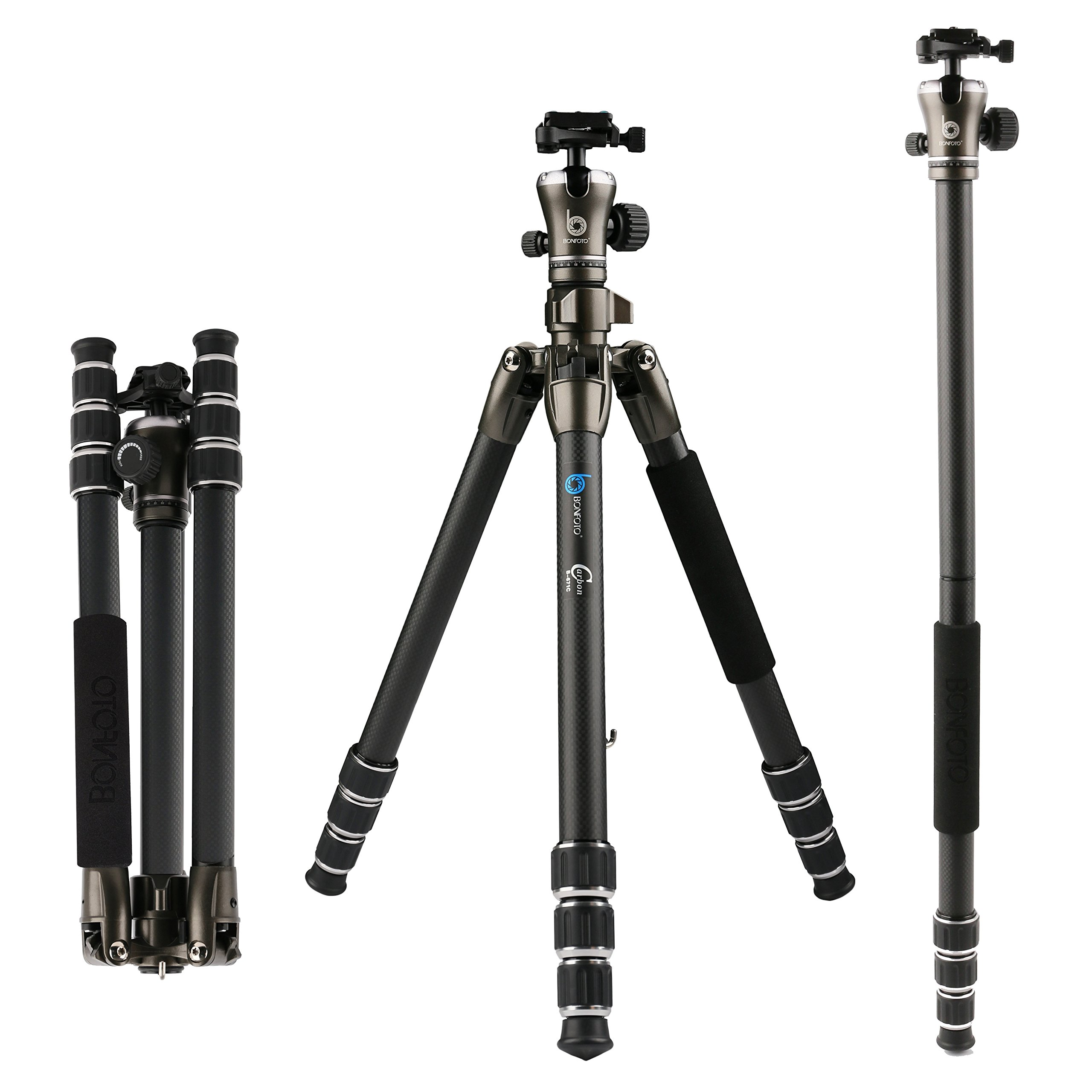 BONFOTO 55'' B671C Carbon Fiber Travel Tripod with Ball Head 8KG Load Capacity with 1/4'' Screw Quick Release Mounting Plate for Digital or Video Canon Nikon by BONFOTO