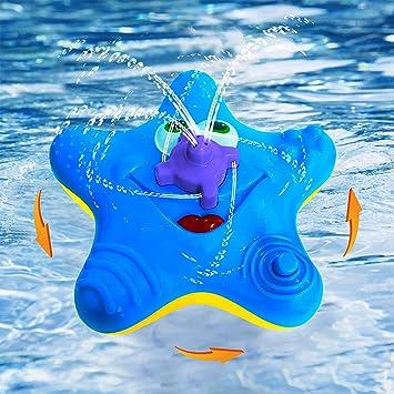 Toddlers Bath Toy, Baby Starfish Baño Spray Juguetes acuáticos, Flotador electrónico giran con juguetes fuente Bañera Ducha Baño baño para niños Kid Party ...