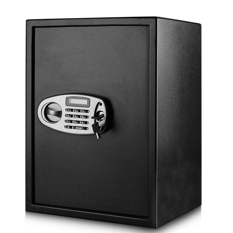Flexzion Security Cabinet, Safe Box, Digital Keypad Lockbox, Electronic Safety Locker w/Door Lock - 2.32 Cubic Feet, Heavy Duty Steel Alloy Storage (Bins/Cubes/Accessories) for Key Document Cash by Flexzion