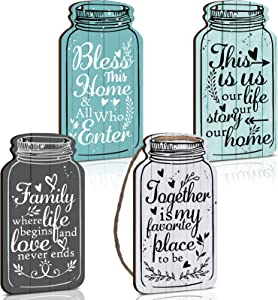 Jetec 4 Pieces Mason Jar Wall Hanging Plaque Bless This Home Sign This is us Together Family Home Rustic Farmhouse Hanging Decor Sign for Home Living Room Coffee Bar Kitchen Office Housewarming