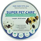 """Flea and Tick Repellent Collar for all sizes of Dogs and Cats, Natural Essential Oils, 6 Month Protection,One Size Fits All, 25"""" inches long By Super Pet Care (24)"""