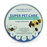 """Flea and Tick Repellent Collar for all sizes of Dogs and Cats, Natural Essential Oils, 6 Month Protection,One Size Fits All, 25"""" inches long By Super Pet Care"""