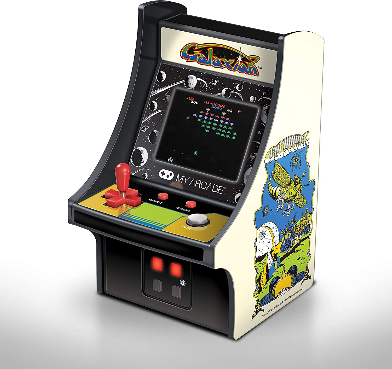 My Arcade Micro Player Mini Arcade Machine: Galaxian Video Game, Fully Playable, 6.75 Inch Collectible, Color Display, Speaker, Volume Buttons, Headphone Jack, Battery or Micro USB Powered