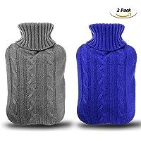Gifort Lot de 2 Bouillotte avec une couverture épaisse et luxueuse | 2 litres de capacité |Housse de bouillotte amovible et lavable | Exempt de polluants (bleu et gris)