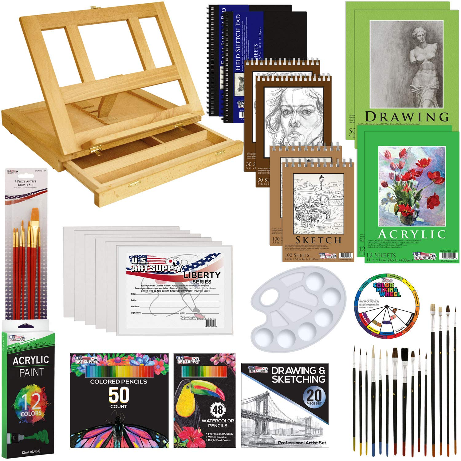 US Art Supply 171-Piece Acrylic Painting & Sketch Drawing Set with Wood Easel, Acrylic Paint, 4 Paper Pads, Canvas Panels, Brushes, Color Pencil Set, Hardbound Sketchbook and Plastic Palette