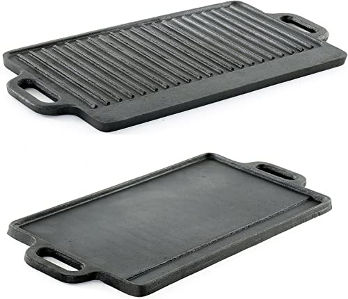 ProSource Professional Heavy Duty Reversible Double Burner Cast Iron Grill Griddle