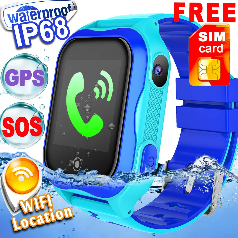 Amazon.com: [SIM CARD Included] Kid Smart Watch Phone GPS Tracker Wifi Location IP68 Waterproof for Girls Boys Back school Fitness Tracker SOS Camera ...