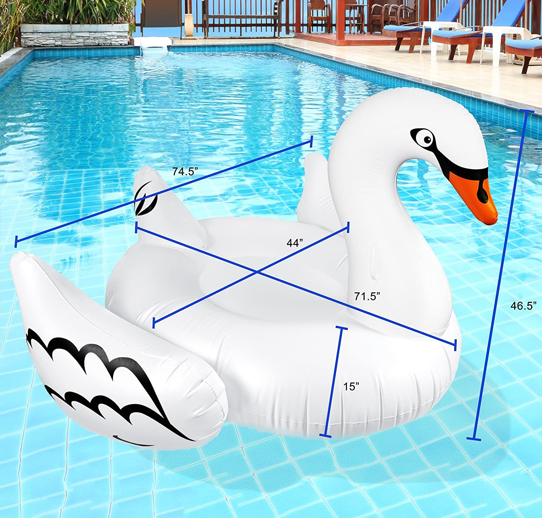 Amazon.com: Greenco Giant Inflatable Swan Pool Float Lounger, 75 ...