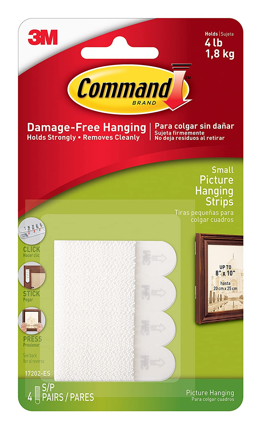 Command Picture Hanging Strips Value Pack, Small, White, 16-Strips (17205-16ES) by Command 3M Corp