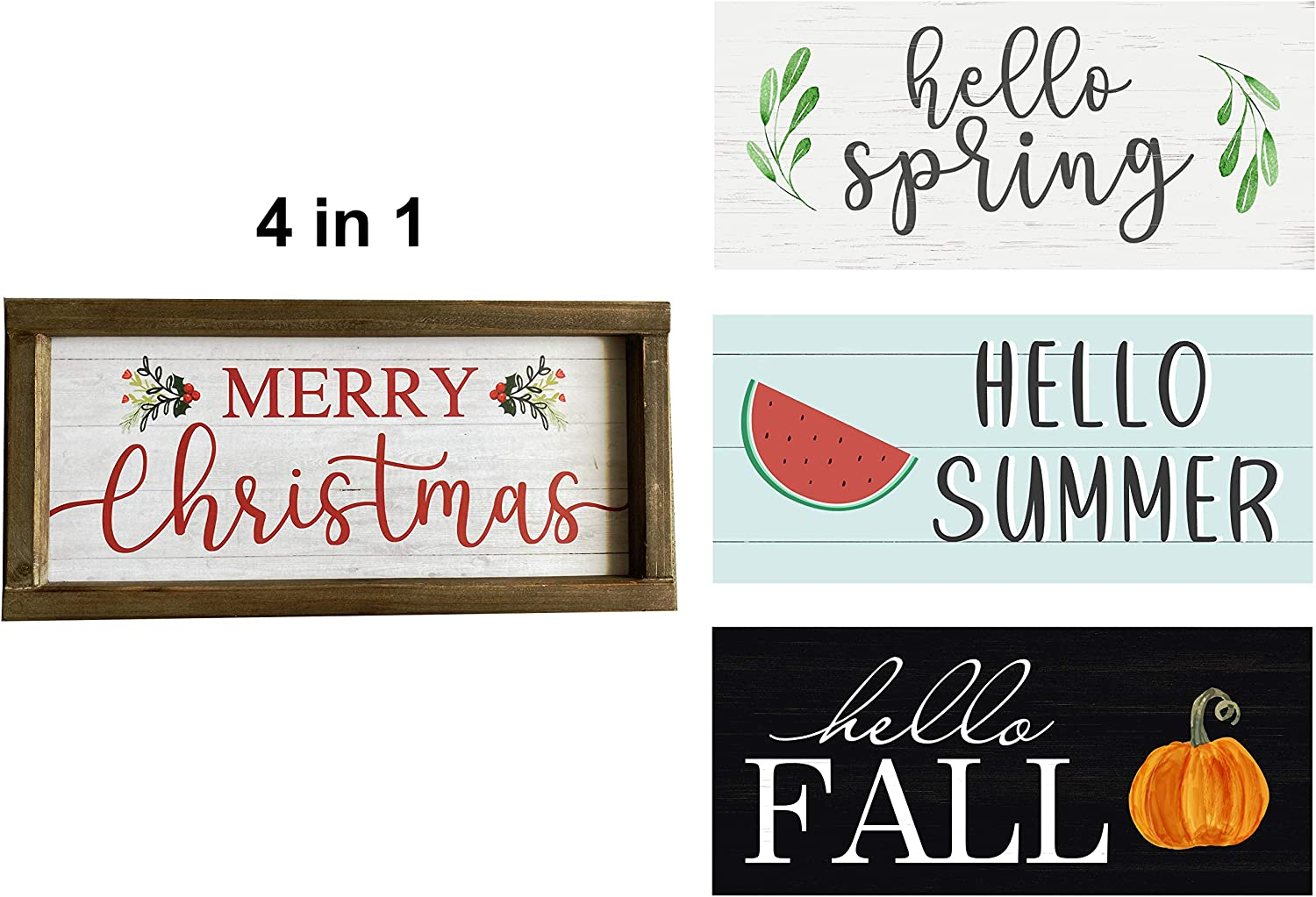 Hello Fall Merry Christmas Hello Spring Hello Summer 4 in 1 Christmas Wood Wall Sign Thanksgiving Farmhouse Signs Halloween Wooden Sign Seasonal Plaque 15 x 7 inches