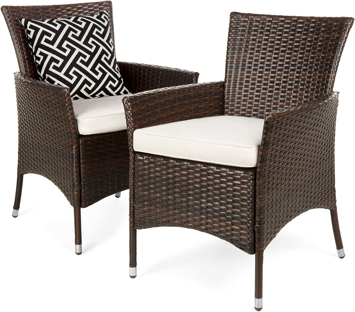 Best Choice Products Set of 3 Modern Contemporary Wicker Patio Furniture  Dining Chairs for Backyard, Poolside, Garden w/Water-Resistant Cushions,