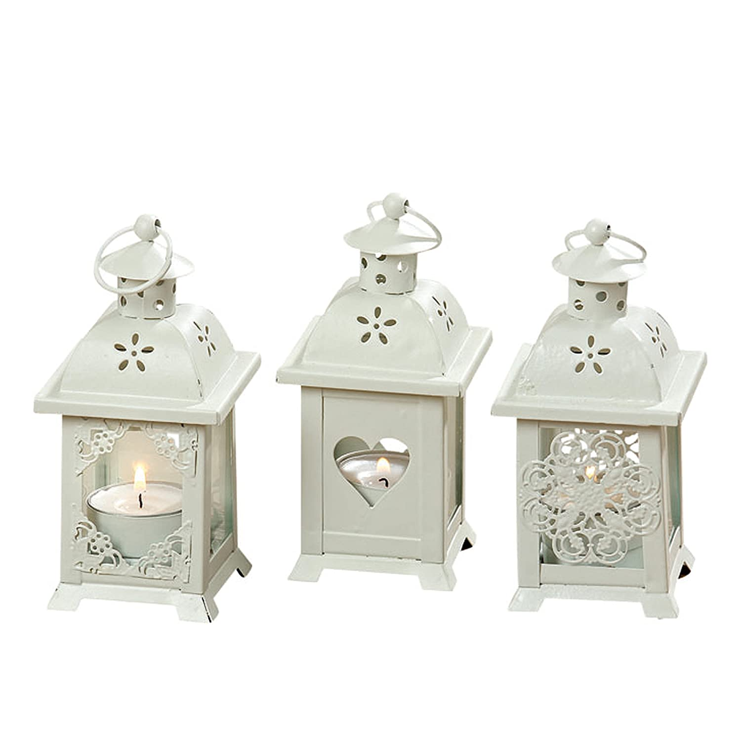 Romantic French Country Style Hearts, Flowers, and Lace LED Tea Light Lanterns Set of 6 | ChristmasTablescapeDecor.com