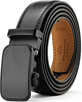 Mens Belt Real Leather Automatic Buckle Ratchet Belt With Buckle