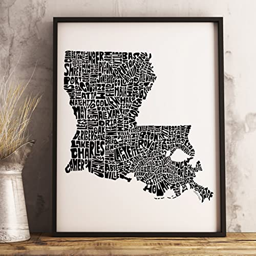 Amazoncom LOUISIANA Map Art Print Framed Options Available