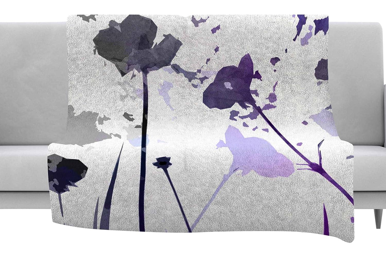 Kess InHouse Alison Coxon Poppies Indigo Purple Black Throw 80 x 60 Fleece Blanket