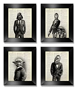Funny Star Wars Print Set of 4, Star Wars Wall Art Set for Kids Man Office Decor, Living Room Decoration Artwork, Husband Boyfriend Birthday Gift, Darth Vader Yoda Dictionary Art Print