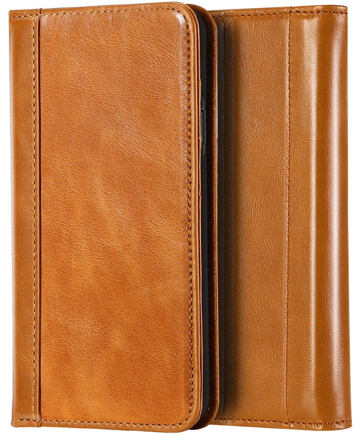 ProCase Genuine Leather Case for iPhone Xs Max, Vintage Wallet Folding Flip Case with Kickstand Card Holder Protective Cover for Apple iPhone Xs Max 6.5'' (2018 Release) -Brown