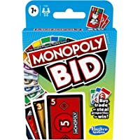 Monopoly - BID Card Game - Quick Playing for 4 Players - Easy to Learn - Buy, Trade, or Steal Properties - Fun Family…