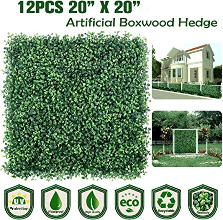 Artificial Boxwood Hedge privacy hedge screen Greenery Mats Backyard Home Decor