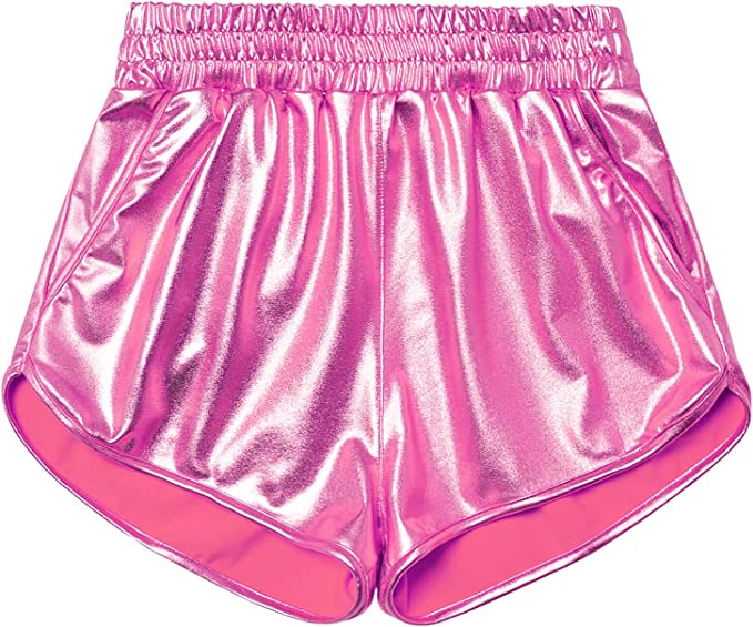 1980s Clothing, Fashion | 80s Style Clothes Perfashion Girls Metallic Shorts Sparkly Shiny Hot Pants Gold/Silver/Pink Outfit $15.99 AT vintagedancer.com