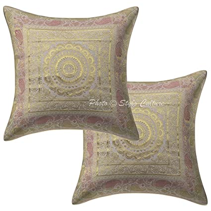 latest new arrivals best deals on Stylo Culture Brocade Ethnic Bedroom Cushion Covers White ...
