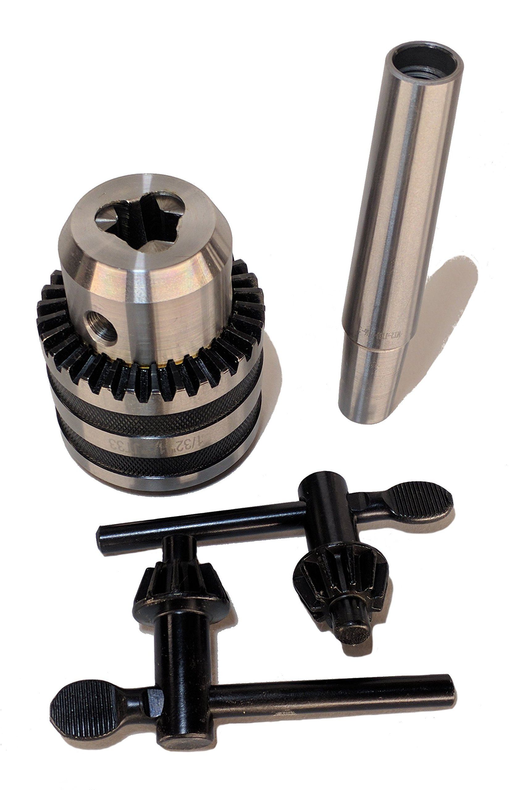1/2'' JT33 Drill Chuck 2 MT Arbor/Mount for Lathes and Drill Presses Two Keys
