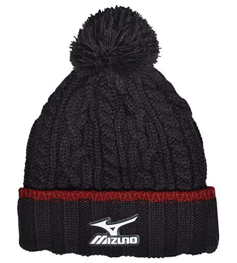 d8adec946c2 Buy Mizuno Cable Knit Bobble Hat (Black Red