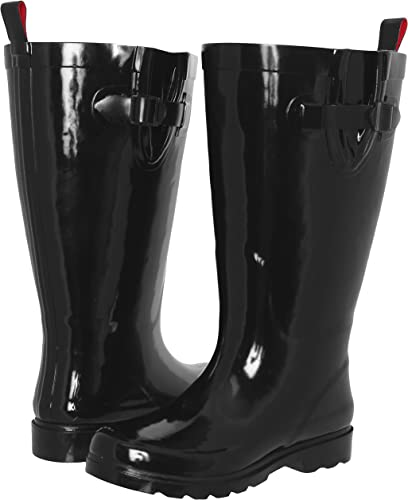 Capelli New York Shiny Baby Leopard Printed Ladies Tall Sporty Rubber Rain Boot Black Combo Combo 10 RBT-2503
