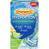 Emergen-C Hydration+ Sports Drink Mix With Vitamin C (18 Count, Lemon Lime Flavor), Electrolyte Replenishment, 0.33…