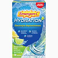 Emergen-C Hydration+ Sports Drink Mix With Vitamin C (18 Count, Lemon Lime Flavor...