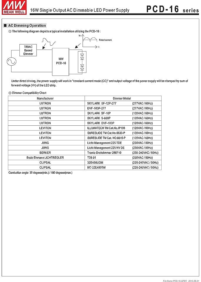 MW Mean Well PCD-16-1400B 12V 1400mA 16.8W Single Output LED Power ...