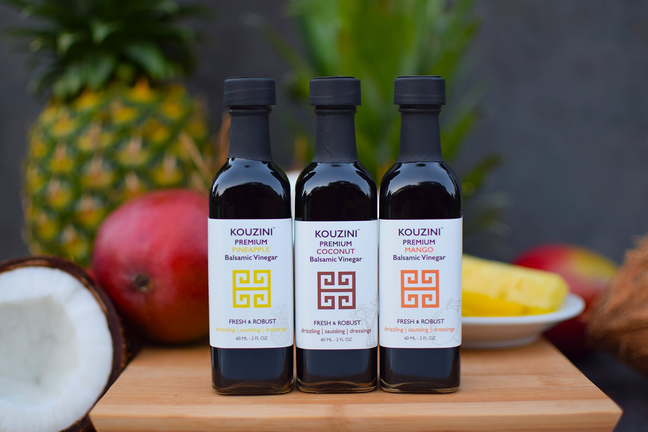 Kouzini Tropical vinegar set. 3-Pack 60ml mini bottles. Summer Edition 2 Naturally thick, sweet and delicious Perfect size for traveling NO Preservatives, NO artificial colorings, NO added sugars
