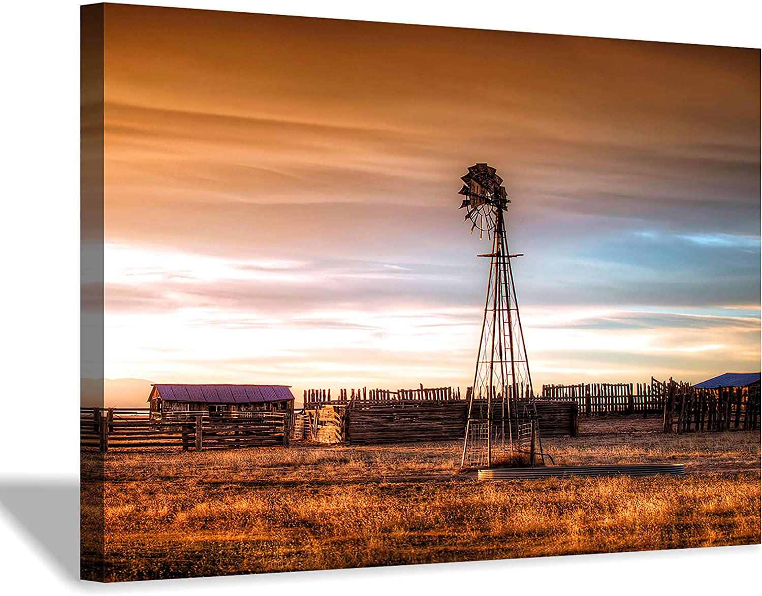 Hardy Gallery Windmill Artwork Rustic Landscape Picture: Farmhouse Painting Wall Art Print on Canvas for Living Room (45'' x 30'' x 1 Panel)