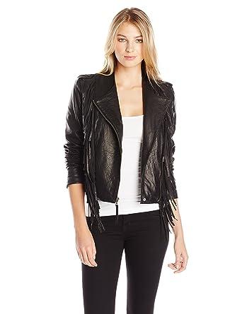 Black leather tassel jacket