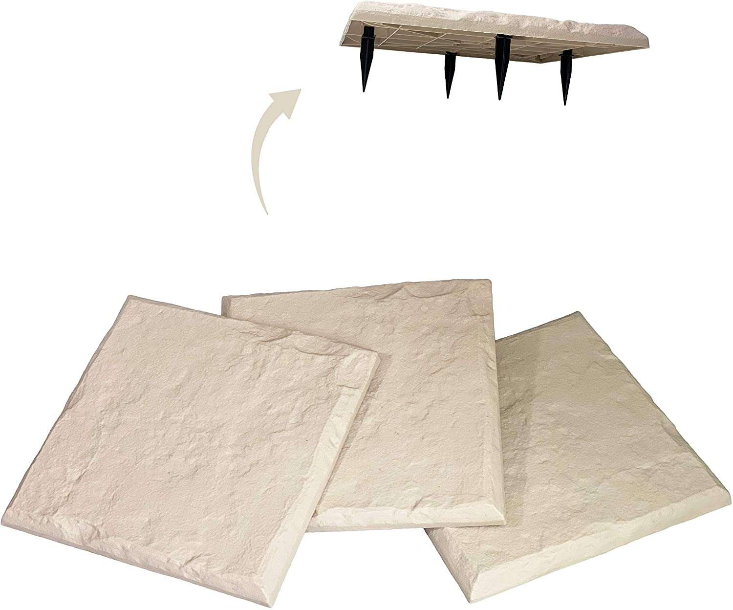 """Gardien New Innovative 15.5"""" All Weather Decorative Stepping Stones That Steak Into The Ground! Home or Garden Pavers - Beige Limestone Look"""