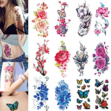 3ba35ddabc2ad Amazon.com : 3D Temporary Tattoos for Women Flowers Large Lotus Rose Cherry  Butterfly Waterproof Tattoo Sexy Fake Stickers Girls Lady Tattoo Body Art :  ...