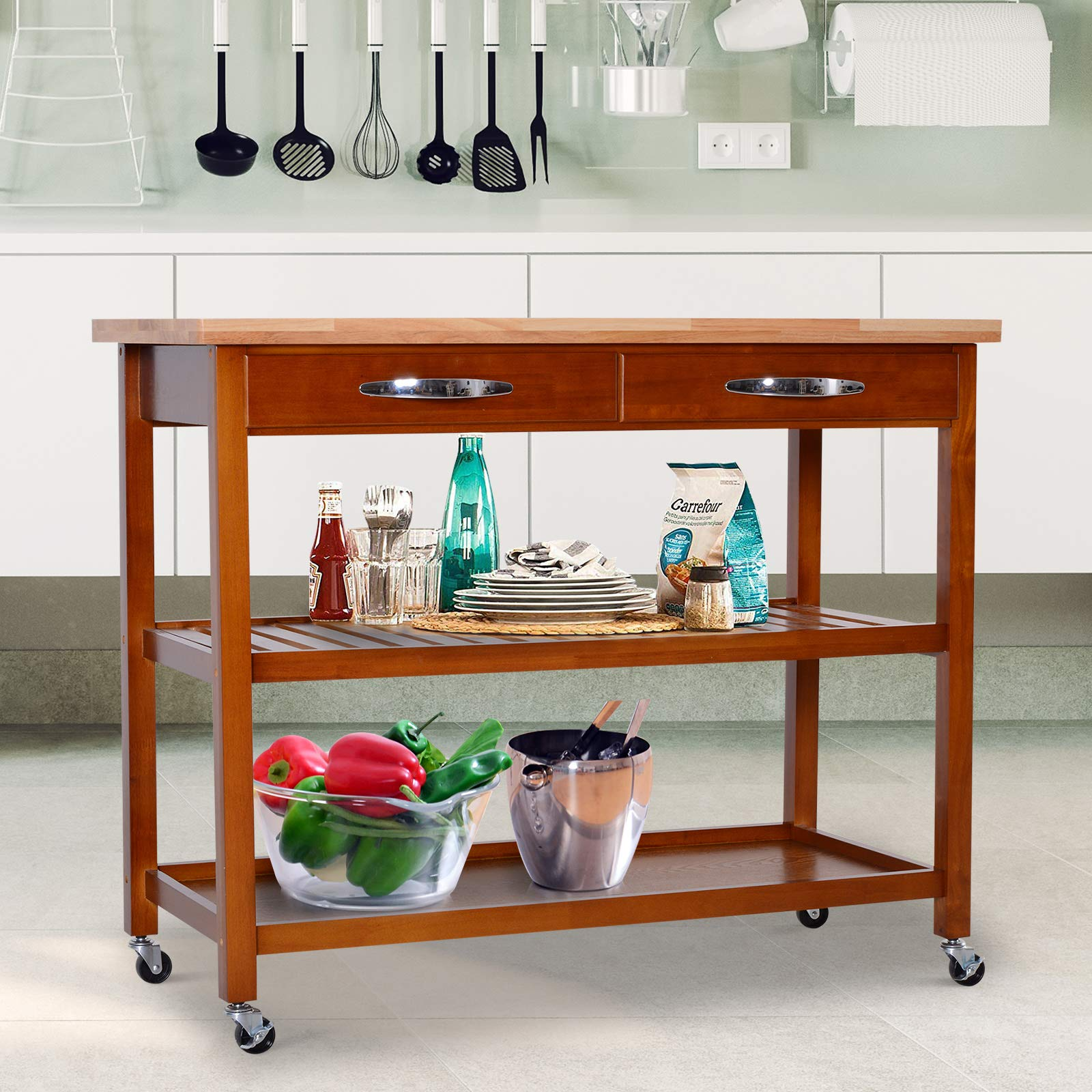 HOMCOM 44'' 3-Tier Rubberwood Kitchen Island Cart on Wheels - Brown by HOMCOM (Image #2)