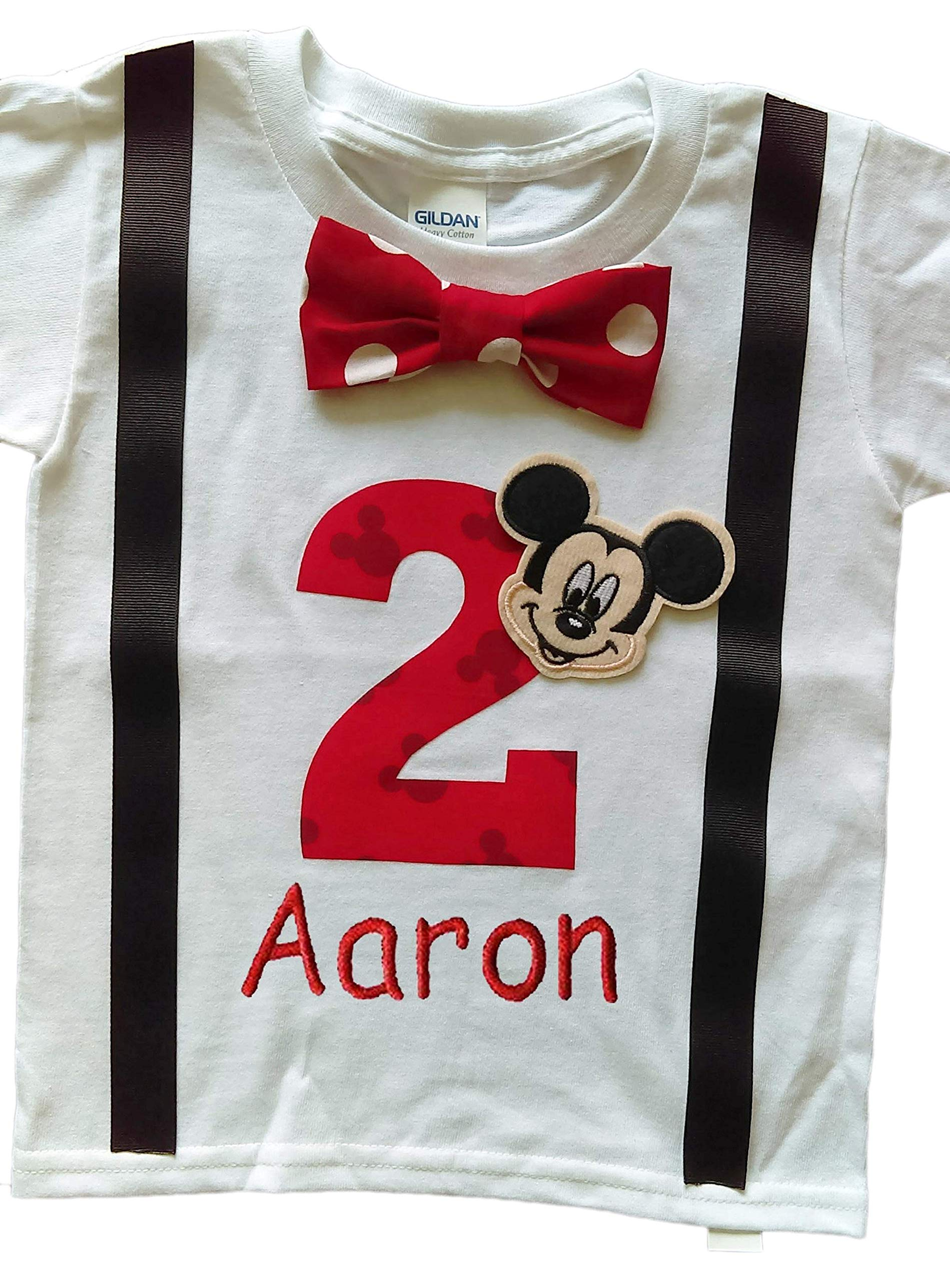 2nd Birthday Shirt Boys Mickey Mouse Tee Personalized (3T Long Sleeve, White-Black-Red Dot) by Perfect Pairz