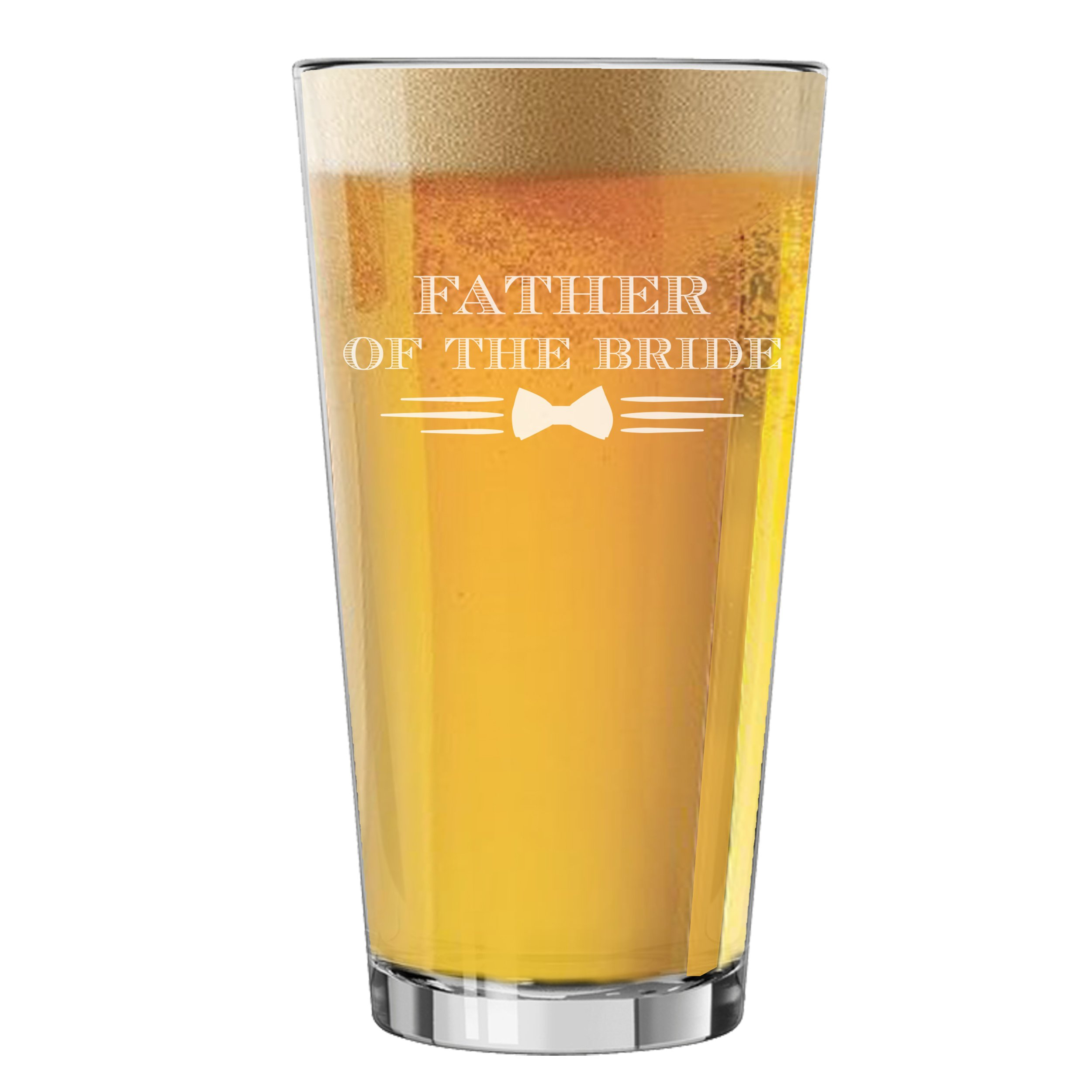 Pint Glasses for Bachelor Party, Weddings, Wedding Favors, Beer Gifts (Bow Tie Style 16oz, Father of the Bride Glass)