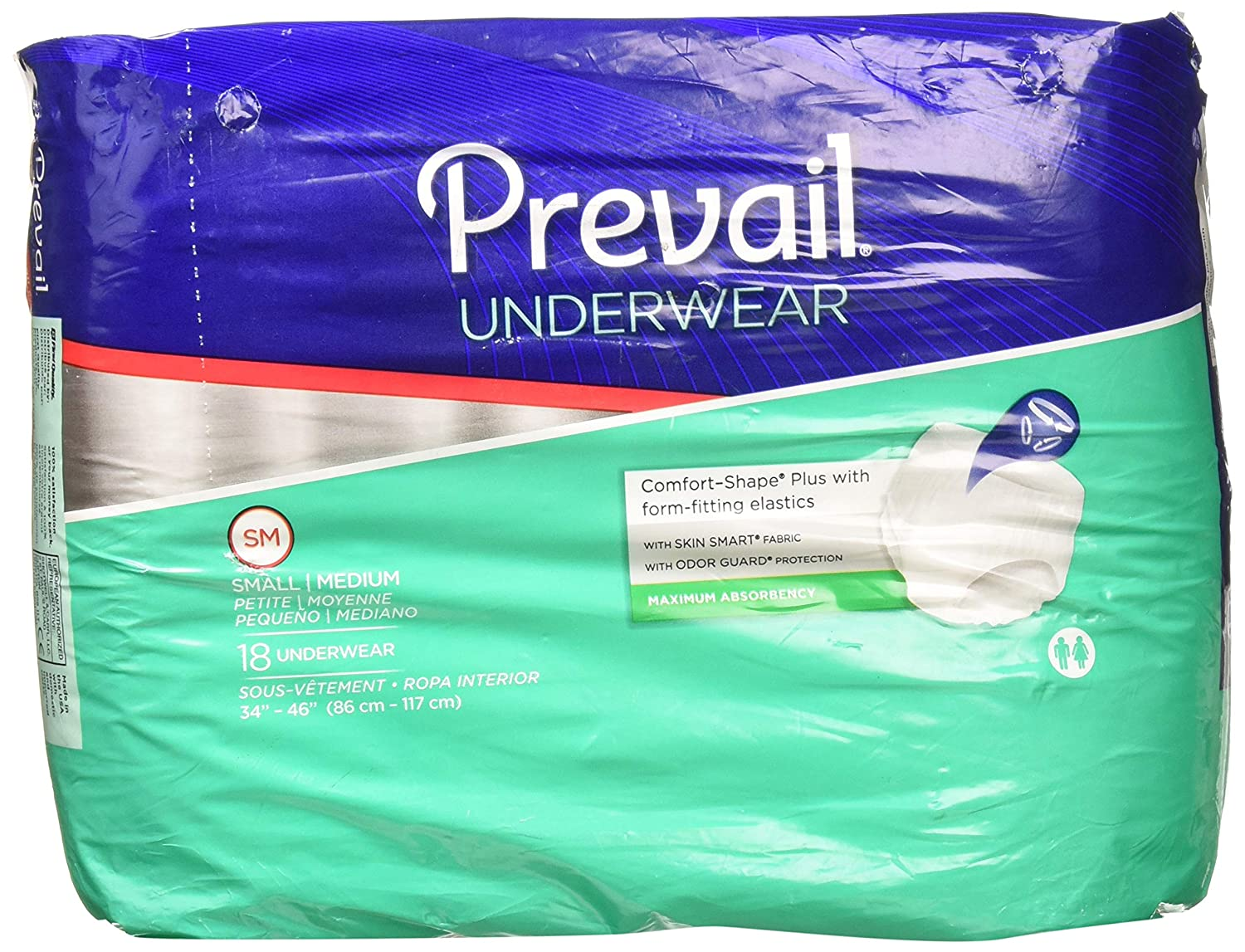 Amazon.com: Prevail Maximum Absorbency Underwear, Small/Medium, Pack/18: Health & Personal Care