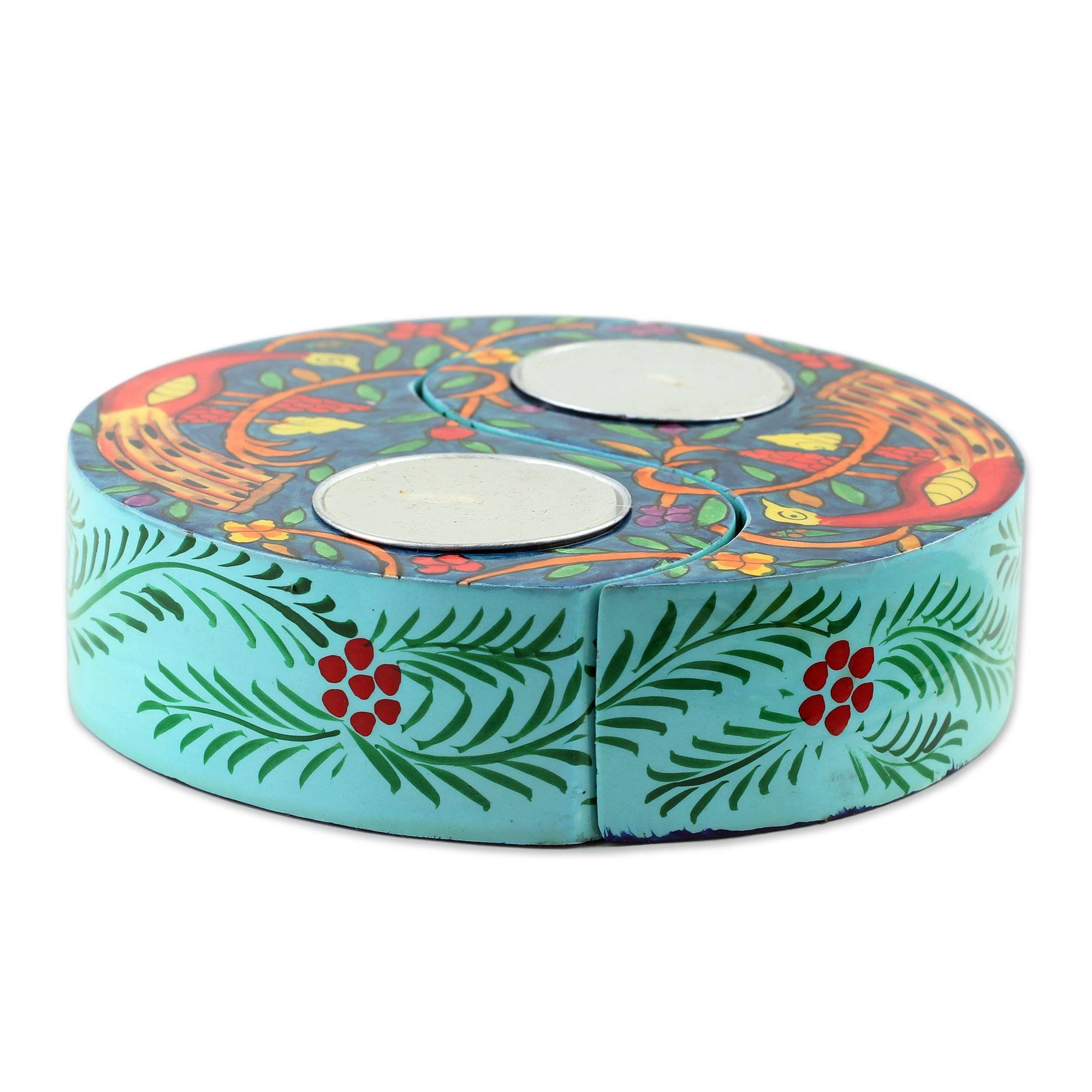 NOVICA Decorative Wood Animal Themed Candle Holder, Multicolor 'Peacock Garden' (Pair)