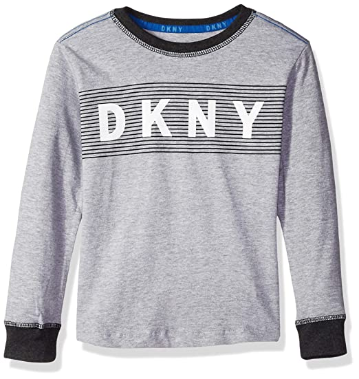bbbf8362 DKNY Boys' Toddler Long Sleeve Crew Neck Tail Hem T-Shirt, Heather Light