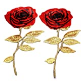 HUELE 2Pcs Extra Large Rose Pattern Sequin Decorative Applique Iron-on or Sew-on