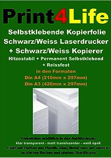 Dicke 0,08mm Standard Laserdrucker + Kopierer 10 Blatt DIN A3 Selbstklebende MATT transluzente Premium Folien f/ür schwarz-wei/ß Laserdrucker und Kopierer